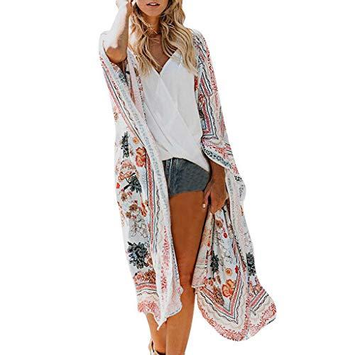 Kimono Femme Fleurs Châle Bohême Cardigan Plage Manteau Rétro Vêtement de Vacances Tunique Été Vestes Printemps Robe Voyage Chic Couverture Maillot de Bain Cache-Maillots Sarongs Cap Couche