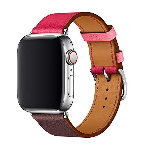 XCool für Apple Watch Armband 38mm 40mm, Leder Rosa Rot Armbänder für iwatch Series 4 Series 3 Series 2 Series 1 Hermes -