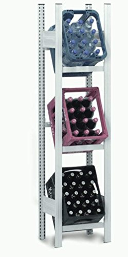Hofe PROFI Getränkekistenregal für 3 Kisten, 175x56x34 cm | Getränkekistenhalter aus metall | Getränkekistenständer | Kistenständer für Getränke | Kistenhalter | Kistenregal | Getränkeregal