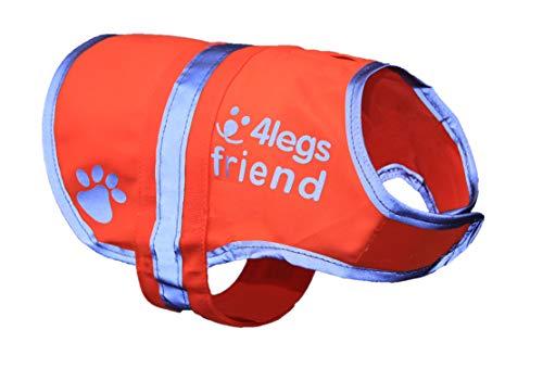 4LegsFriend Hunde Sicherheitsweste (5 Größen, S) - Hohe Sichtbarkeit für Outdoor Aktivitäten Tag und Nacht, Hält den Hund Sichtbar, Sicher vor Autos & Jagtunfällen | Blaze Orange -