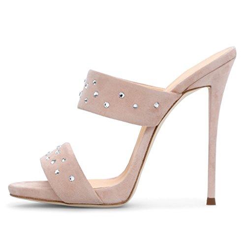 Bohren Offene Zehen Muller Schuhe High Heel Sandalen Hausschuhe Strass Wasserdichte Plattform (Absatzhöhe:12-13Cm),Pink,37 ()