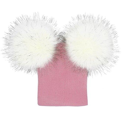 LuckyGirls Mütze Infant Baby Mädchen Jungen Häkeln Stricken Winter Warme Super Big Double Ball pelz Ball Hut Beanie Caps (Kostüme Foot Kinder Big)