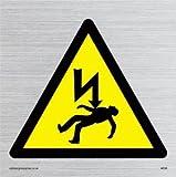 Viking Schilder we96-s10-s Stromschläge Symbol Zeichen, starr silber Kunststoff, 100mm H x 100mm W