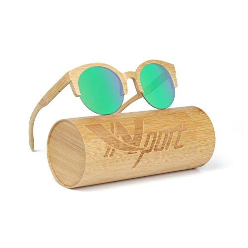 ynport crefreak para hombre/mujer kat-eye con revestimiento de madera de bambú gafas de sol, gafas de sol, gafas de diseño vintage, flotante Wayfarer, para hombres y mujeres, mujer, verde