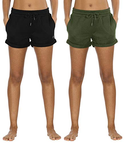 icyzone Damen Sweatshorts 2er Pack Kurze Sporthose Gym Fitness Shorts (M,Black/Green)