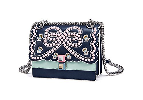 Donne Cuoio Genuino Rivet Ricamati Singola Spalla Crossbody Bag Organo. Blue