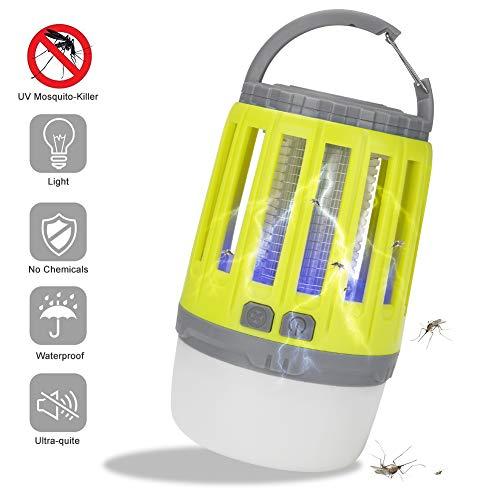Linkax Insektenvernichter Elektrisch UV Lampe Moskito killer Mückenkiller LED Campinglampe Zeltlampe USB Wiederaufladbar und Einziehbarer Haken für Innen und Außen(Gelb)
