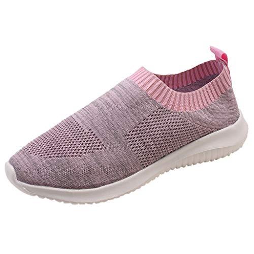 Sommer Slipper Damen,Frauen Flache Schuhe Outdoor Normallack Sportschuhe Atmungsaktiv Schuh Turnschuhe Laufen Tennisschuhe Flache Schuhe Rutschfeste Wanderschuhe