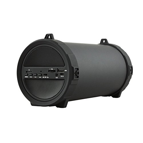 SODIAL Drahtloser Schwerer Bass Bluetooth Outdoor Lautsprecher Energienbank 10W Hochleistung HiFi Tragbarer USB Stereo Subwoofer Stereoanlage matted schwarz