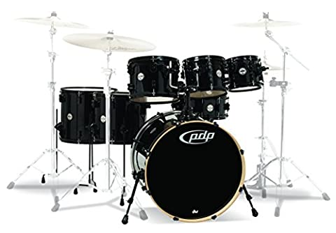 PDP By DW PDCM2217PB 7-Piece Concept Maple Shell Pack with Black Hardware, Pearlescent Black