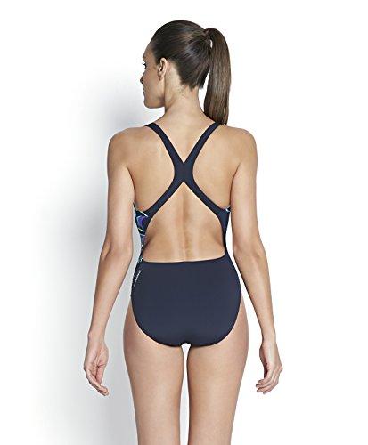 Speedo donna posizionamento alimentazione della stampa 20swimsuit-navy/viola/Adriatic, taglia 40 Navy/Violet/Adriatic
