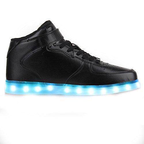 Blinkende LED Damen Herren Sneakers Low Multi Farbwechsel Leuchtend Schwarz High