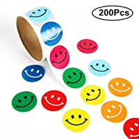 BJ-SHOP Smiley Happy Stickers Happy Face Round Paper Labels For Kids Chirstmas Birthday Party Decorative Stickers For Teacher And Student Smiley Reward Stickers 2 Roll 200 Pcs 6 Colors