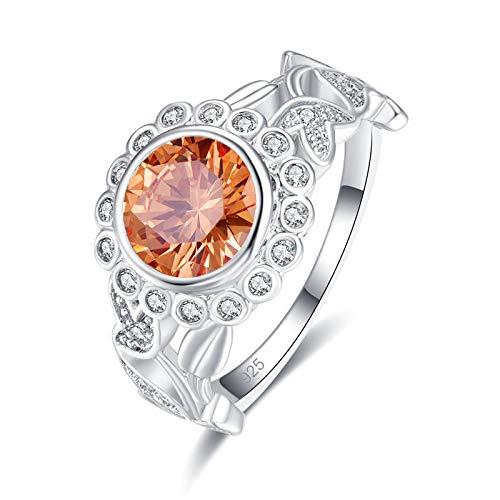 QiXuan Hochzeit Morganite & Amethyst Rundschnitt 925 Silber Ring Edelsteine   Schmuck Romantisch - Ringe Amethyst Teardrop