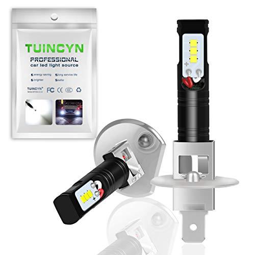 Ampoules antibrouillard à LED TUINCYN H1 6500K 1600LM Blanc La version la plus récente est une puce CSP extrêmement brillante de jour, feux de jour DRL.