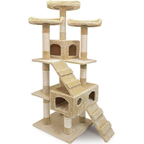 Katzenkratzbaum Kratzbaum mit 3 Aussichtsplätzen 2 Höhlen 175cm Beige Katzenbaum Katzenspielzeug