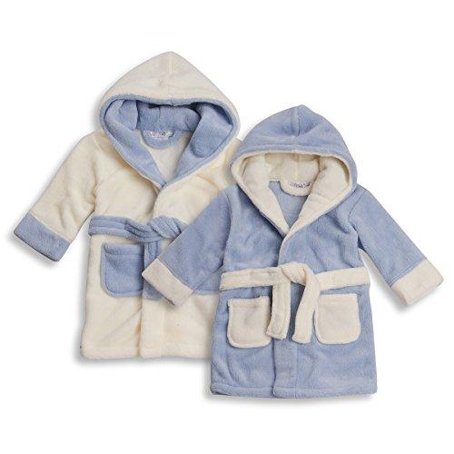 BABYTOWN-Baby-Boys-Fleece-Dressing-Gown-Hooded-Robe-Bathrobe-Blue-White-Babies