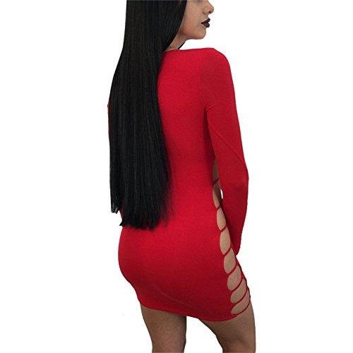 Corala Damen Kurzarm Boho Casual Striped Sommerkleid Strandkleid Lange Maxikleid Rot