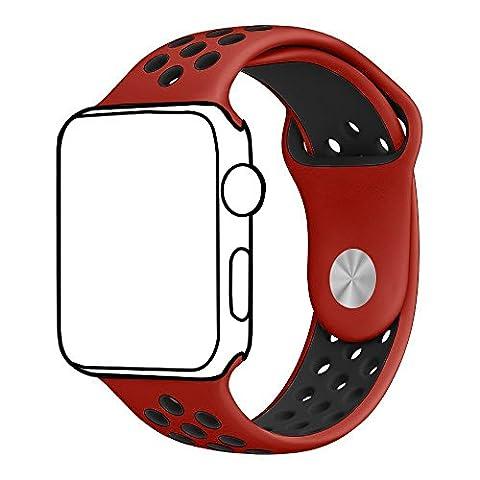 Ontube pour Apple Watch Band Nike + Série 1série 2, souple en silicone Sport Bracelet de remplacement Sangle pour iWatch Band Taille M/L