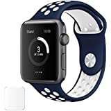 Brain Freezer Replacement Silicon Watch Strap For Apple IWatch Series 1, Series 2 , Series 3 38MM Dark Blue White Watch Not Including Plus Screen Guard