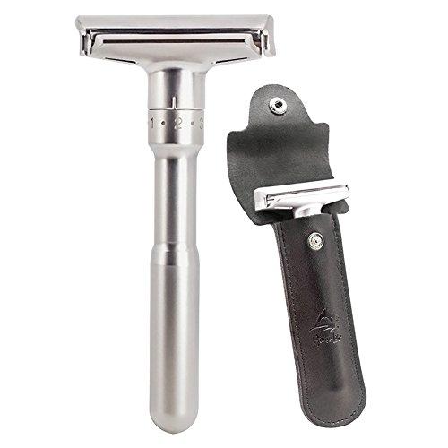 Kit de maquinilla de afeitar de seguridad, mangos largos de cromo River Lake de doble filo Razorr de seguridad clásica con conjunto de maquinilla de afeitar H1 (1 maquinilla de afeitar y 1 pz. De cuero genuino)