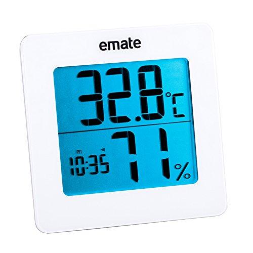 Indoor Wireless Digital Hygrometer Thermometer, Raum Temperatur und Luftfeuchtigkeit Monitor Gauge mit Jumbo Display und Hintergrundbeleuchtung (schwarz, weiß), weiß, Einheitsgröße