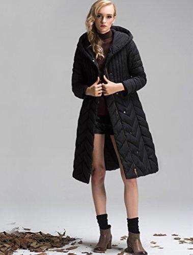 MatchLife Femme Manteau Trench Parka Hiver avec Capuche Blousons Style2-Noir
