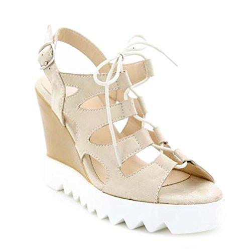 Toocool - Scarpe donna open toe sandali zeppa effetto stringhe Queen Helena nuove X17-18 Beige