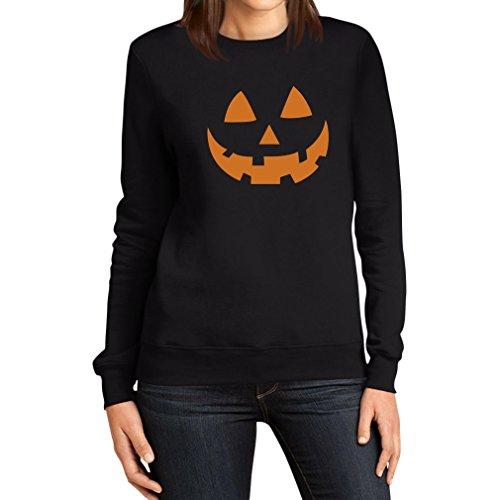 Halloween Damen Pullover - Jack O' Lantern Kürbis Gesicht Frauen Sweatshirt X-Large Schwarz (Schnitt Gesicht Halloween Kürbis)