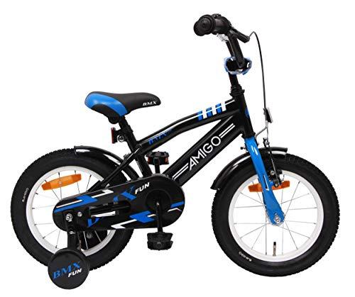 amiGO BMX Fun - Kinderfahrrad - 14 Zoll - Jungen - mit Rücktritt und Stützräder - ab 3 Jahre - Schwarz/Blau