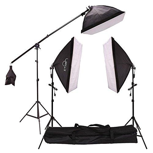 Etime Fotostudio 50 x 70cm Softbox Studioleuchte Set + 3 x 135W 5500K E27 Tageslicht Fotolampe mit Galgenstativ Lampenstativ