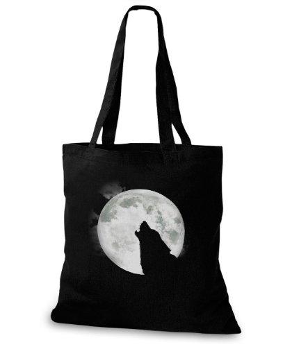 StyloBags Jutebeutel / Tasche Wolf with Moon Schwarz