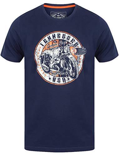 Tokyo Laundry Herren T-Shirt Kurz Ärmelloses T-Shirt Top Motorrad Baumwolle Custom Shop,Iris L -