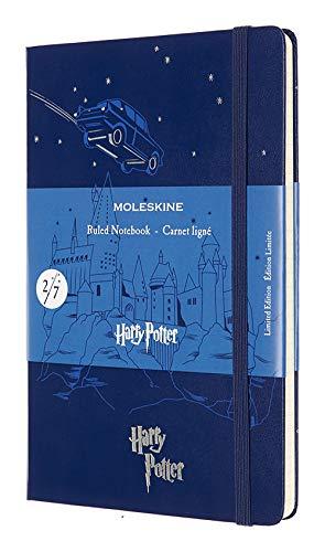 Moleskine Harry Potter Taccuino Edizione Limitata, Notebook a Righe, Tema 2/7 Macchina Volante, Copertina Rigida con Grafica e Dettagli a Tema, Formato Large 13 x 21 cm, Blu Royal, 240 Pagine