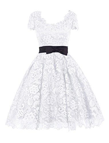Find Dress Femme Elégant Robe de Soirée/Cérémonie/Cocktail Mariage Courte en Mousseline avec Dentelles, Noeud de papillon Blanc