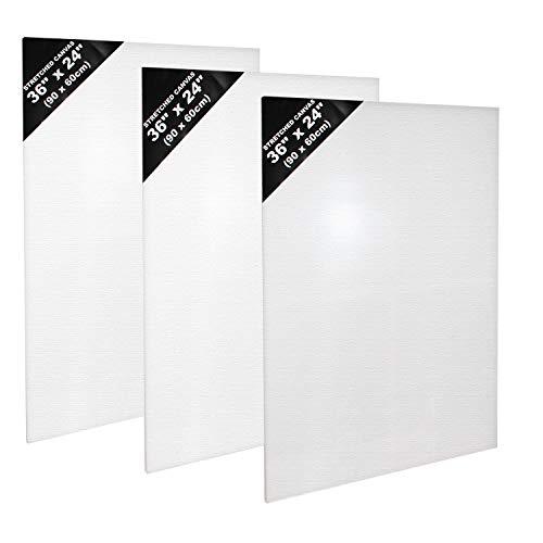 Kurtzy, 3 teiliges Leinwand Set- Weiße Leinwand für Künstler- Leinwand Tafeln zum Bemalen der Größe 90 x 60cm- Acryl Malerei - Weiße, bespannte Leinwand für Acrylmalerei- Leinwand für Aquarellmalerei