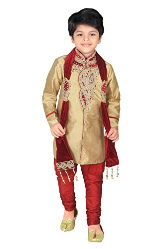 Ahhaaaa Kid's Indian Ethnic Handwork Embroidery Sherwani and Breeches Set With Dupatta...