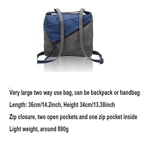 LeahWard® Damen Essener Zwei Teins Rucksack Tasche Damen Rucksack greifen Handtaschen 160662 Oxford blau