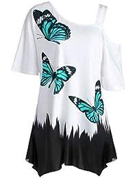 AiBarle - Camiseta de Manga Corta con Estampado de Mariposas para Mujer, Talla Grande,