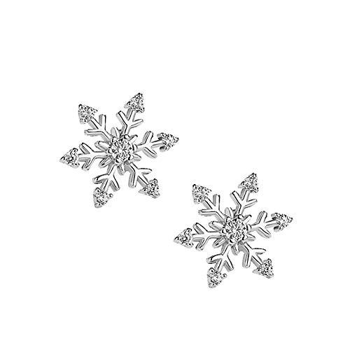 Pendientes de plata copo de nieve