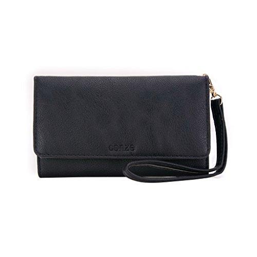 conze Fashion Téléphone portable petit sac de transport avec sangle croix corps Prune pour hache Plus Black + Flower noir
