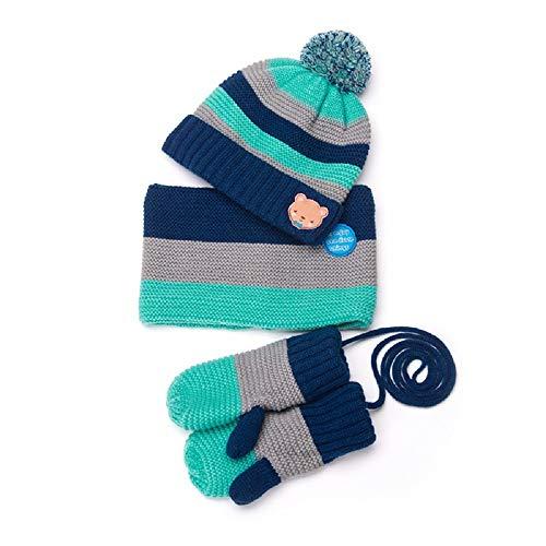 XWH 3Pcs-Kinder Schals Hut Handschuhe Set, Strickmütze Neckwarmerf Und Handschuhe Weiche Warme Winter Accessoires Plüschfutter Geeignet for Kinder Von 2-8 Jahren (Farbe : Navy Blue)