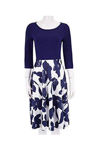 YACUN Femmes 3 / 4 Manche Floral Swing Robe De Soirée Patchwork Décolleté Navy