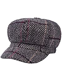 XueXian Cotton Solid Checked 8 Panel Octagonal Hat Cap Peaked Beret Hat for Womens  Ladies 20fe7fe31621