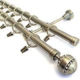 Metal Double Extendable Curtain Pole Antique Brass 19mm & 19mm Jewel Finial (2m - 3m)