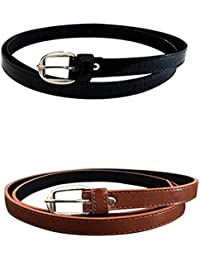 EUPHO WOMAN BELTS COMBO BLACK AND TAN FOR FORMAL AND CASUAL .