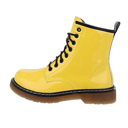 Ital-Design Damenschuhe Stiefeletten Schnürstiefeletten Worker Boots Synthetik Gelb Schwarz Gr. 38