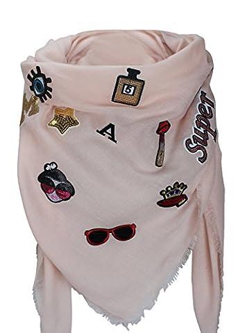 XXL PATCHES Damen Karo Schal Tuch Deckenschal Karoschal Halstuch Fashion Plaid (Rosa)