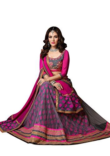 Fashion Storey Women Grey And Pink Net Lehenga Choli