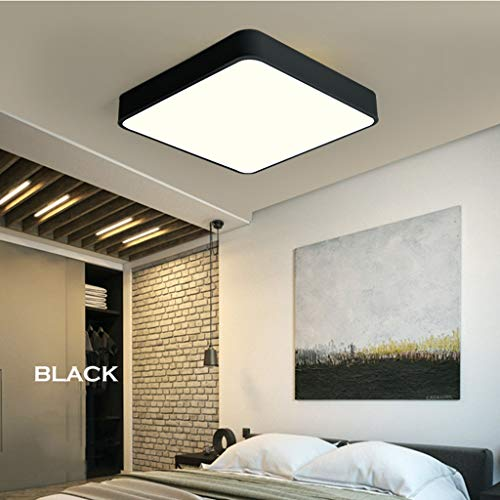 5 Light 25 Kronleuchter (WZJ-Deckenleuchte Moderne einfache deckenleuchte ultradünne led Schlafzimmer Lampe Wohnzimmer 3-farbige abblenddeckenleuchte (Color : Black, Größe : 40x40x5cm))